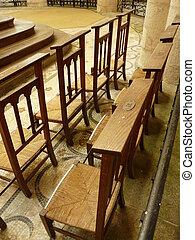 Prayer stools in a church