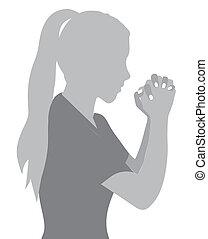 prayer to God - Illustration religious person prayer to God,...