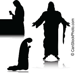 prayer vector silhouettes