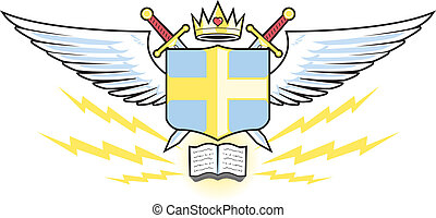 Prayer Warrior Crest - Crown with heart, wings, swords and...