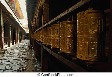 Prayer wheel - The prayer wheels in Jokhang...