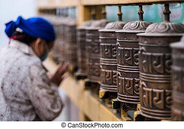 Prayer wheels in Boudhanath Stupa in Kathmandu, Nepal