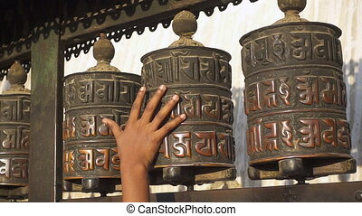 Prayer wheels in Kathmandu, Nepal. Slow motion.