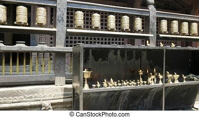 Prayer wheels in Patan, Durbar Square, Kathmandu valley,...