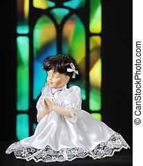 Prayerful Doll - A praying doll dressed for communion,...
