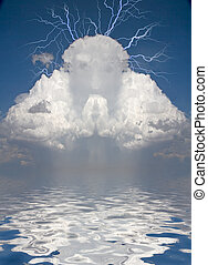 prayerful, figura, en, nube