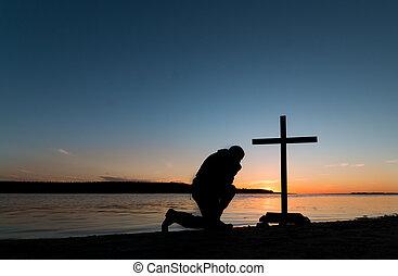 prayerfulness, tramonto, uomo