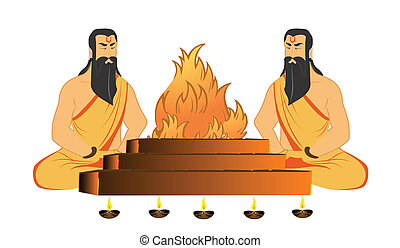 prayers religious - Sadhus performing Yajna