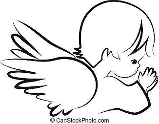 Praying angel child, believe icon vector