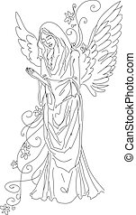 Praying angel sketch isolated - A Vector Image of praying...