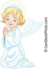 Praying Angel - Illustration of praying nativity Angel
