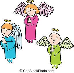 Praying Angels - Three angels praying in a cartoon style.