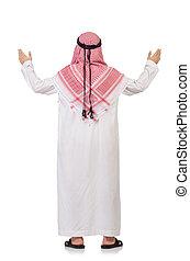 Praying arab man isolated on white - Praying arab man...