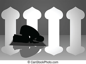 Praying - Silhouette illustration of a moslem man praying in...