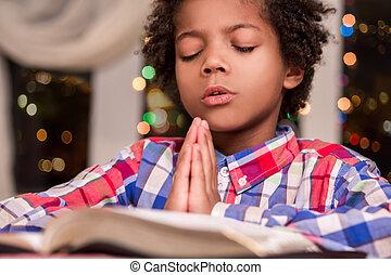 praying., enfant, afro