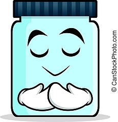 Praying face jar character cartoon style