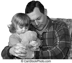 Praying family  - Father teaching little girl to pray
