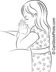 Praying Girl Kneeling by Bed