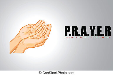 Praying Hand - illustration of praying hand on abstract...