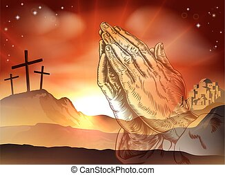 Praying Hands Easter Concept - Christian Easter concept of...