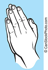 Praying hands (vector illustration of hands folded in...