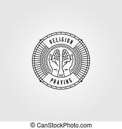 praying hands line art logo vector vintage illustration design
