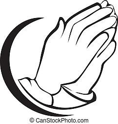 Praying hands logo  - Hands praying silhouette icon vector