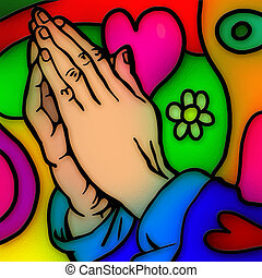 Praying Hands - Colourful stained glass window effect...