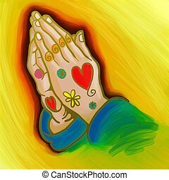 Praying Hands Whimsical Painting