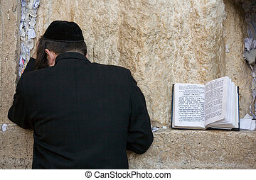 Praying jew - Praying Jew on Jerusalem Western wall during...