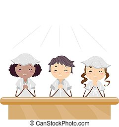 Praying Kids - Illustration of Kids Praying in a Church