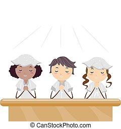 Praying Kids - Illustration of Kids Praying in a Church