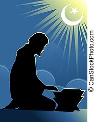 Praying man - Illustration of silhouette of a praying man...