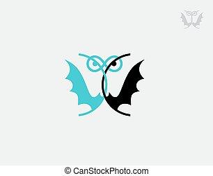 Praying Mantis and Bat logo on white background in vector illustration