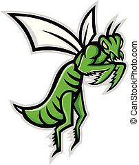 praying-mantis-flying-MASCOT - Mascot icon illustration of a...