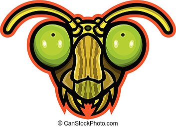 Mascot icon illustration of head of a praying mantis, an insect of the order Mantodea viewed from front on isolated background in retro style.