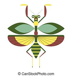 Green and yellow praying mantis geometric flat icon. Colorful winged mantis insect with antennae.