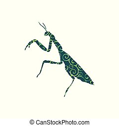 Praying mantis insect spiral pattern color silhouette animal. Vector Illustrator.