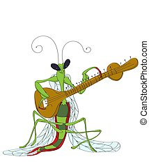 Praying Mantis playing sitar, vector cartoon sketch over white