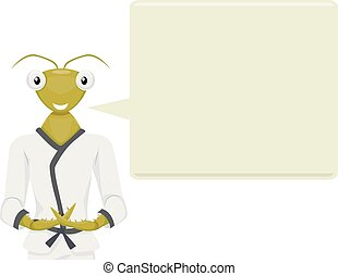 Mascot Illustration of a Praying Mantis in a Karate Costume and Meditation Pose with a Large Speech Bubble Beside It