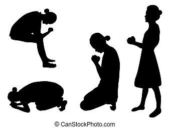 Set of women praying silhouettes-vector illustration