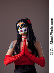 Praying Sugar skull girl