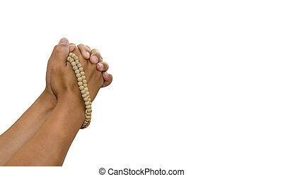 Praying the rosary in the hands of men on a white background.