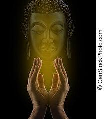 Praying to Buddha - Male healer's hands reaching upwards...