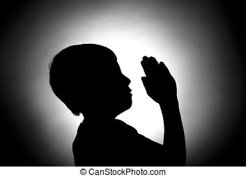 Praying to heaven.