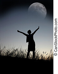 praying to the moon, person isn\\\'t identifable