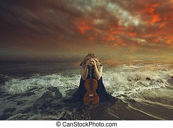 Praying with violin