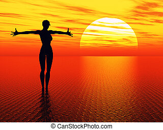 Praying woman reaching for the sun - Silhouette of a young...