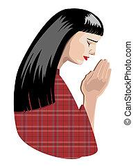 praying woman - illustration of praying woman, vector...