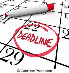 prazo de entrega, palavra, circundado, ligado, calendário, devido, data